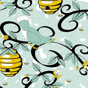 All About the Birds and the Bees - Spoonflower Blue