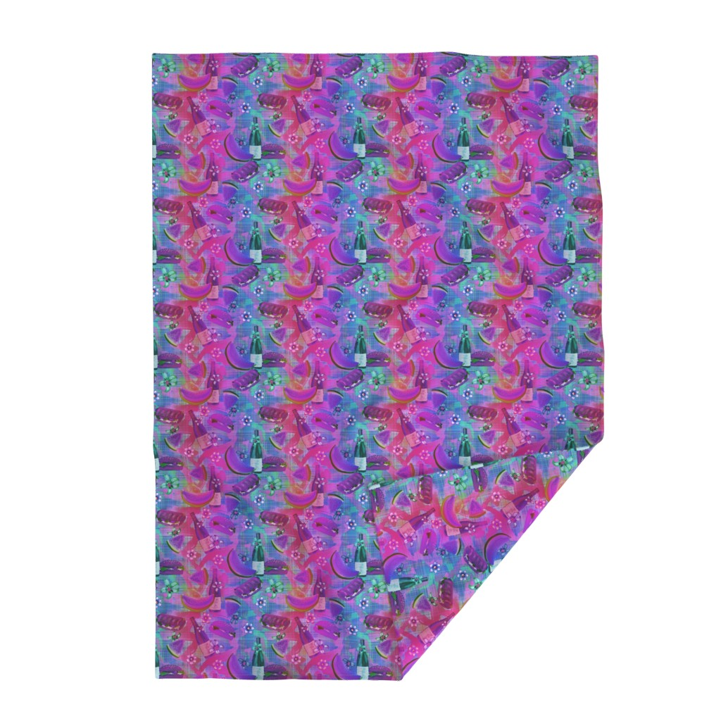Lakenvelder Throw Blanket featuring watermelon summer picnic pink turquoise on plaid tablecloth by floweryhat