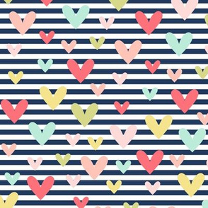 scattered hearts on navy stripe || sugared spring