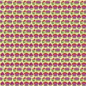 zinnia baskets on yellow 2x2