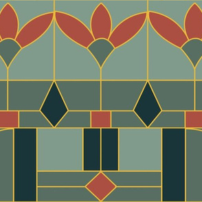 Art Deco Stained Glass Window/Rust Red, Green, Deep Jade and Gold