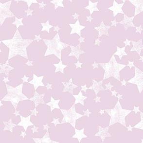 Lino Print Stars | White Stars on Pink