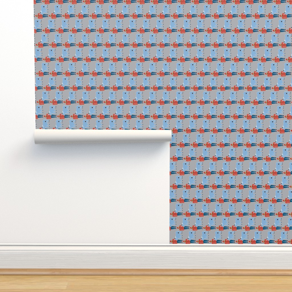 Isobar Durable Wallpaper featuring Paul Bunyan & Babe, gray, vertical by cindylindgren
