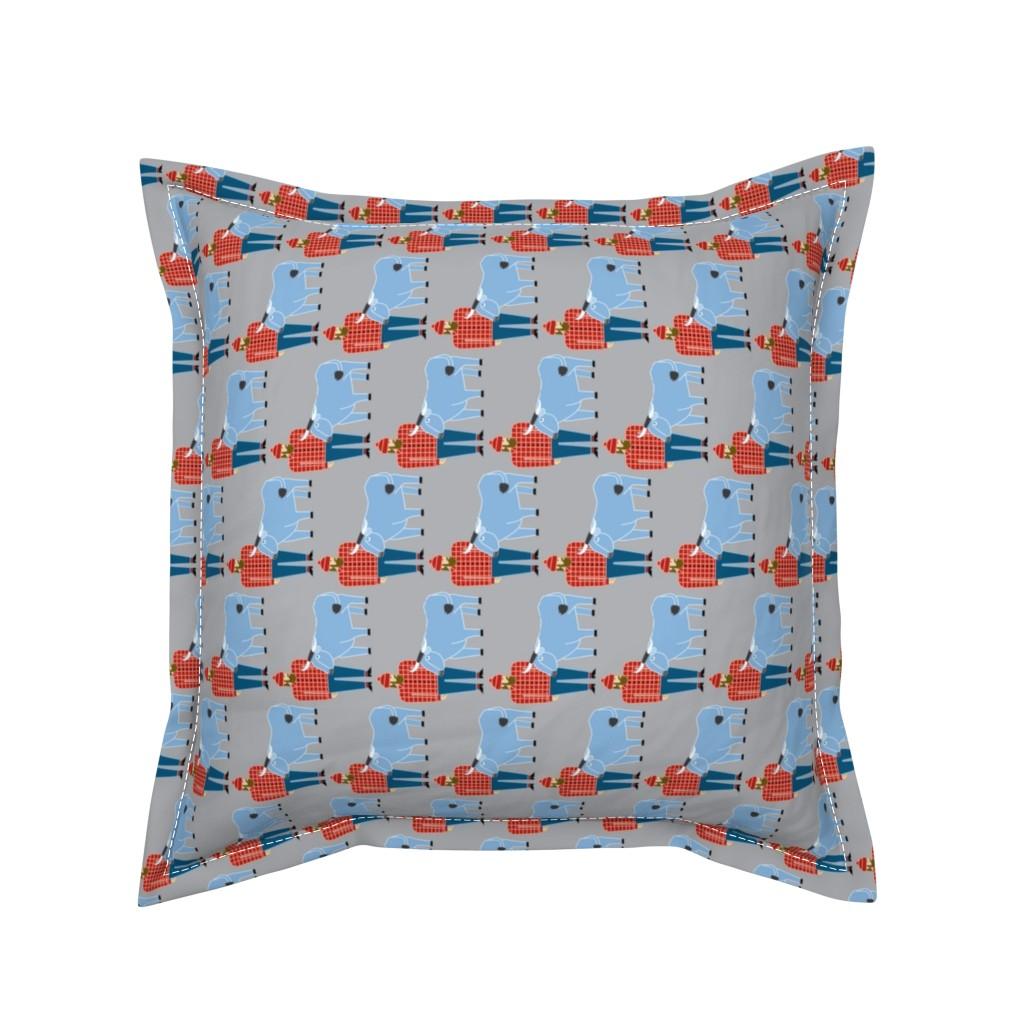 Serama Throw Pillow featuring Paul Bunyan & Babe, gray, vertical by cindylindgren