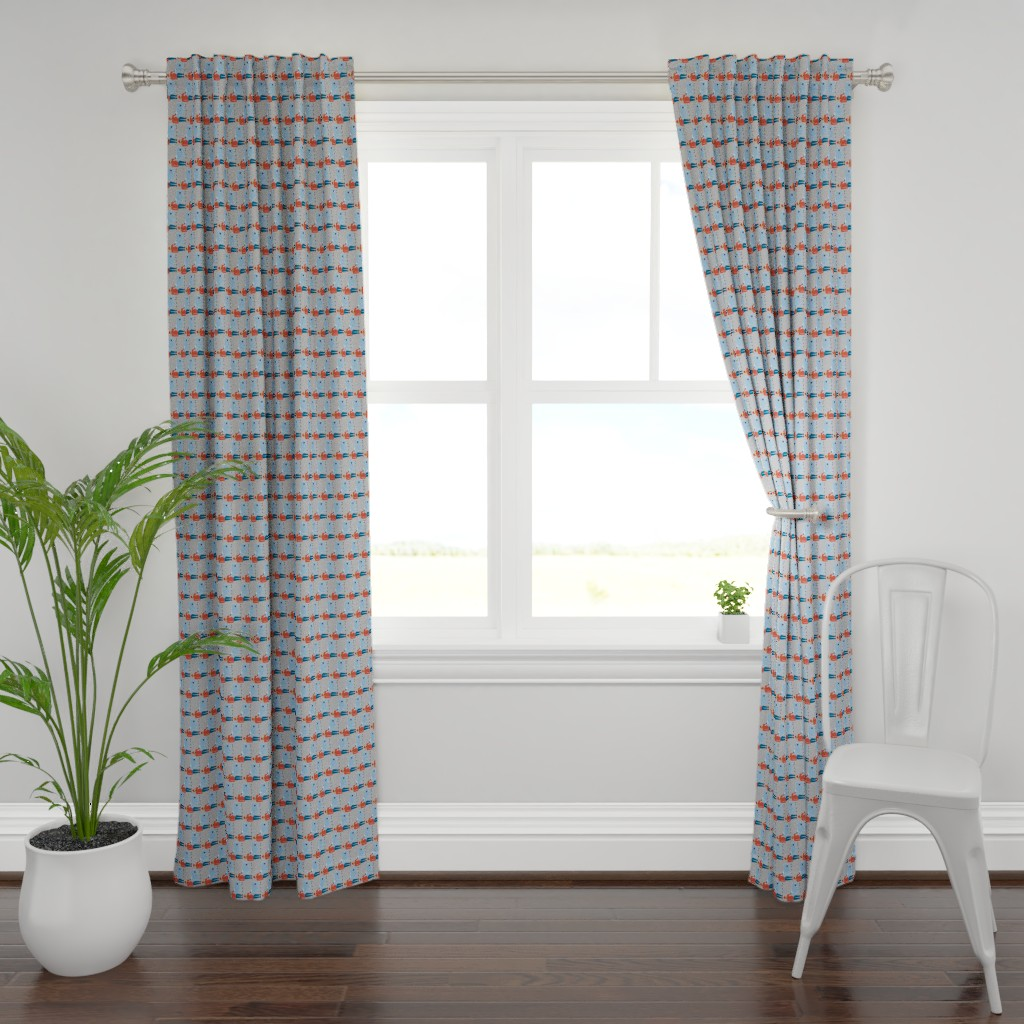Plymouth Curtain Panel featuring Paul Bunyan & Babe, gray, vertical by cindylindgren