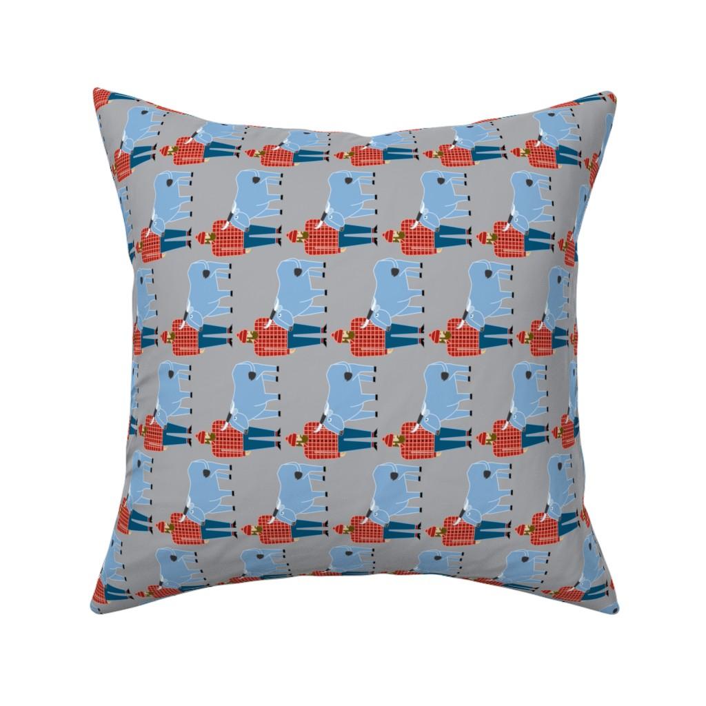 Catalan Throw Pillow featuring Paul Bunyan & Babe, gray, vertical by cindylindgren