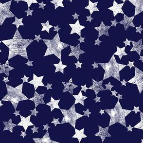 Lino Print Stars | White Stars on Midnight Blue