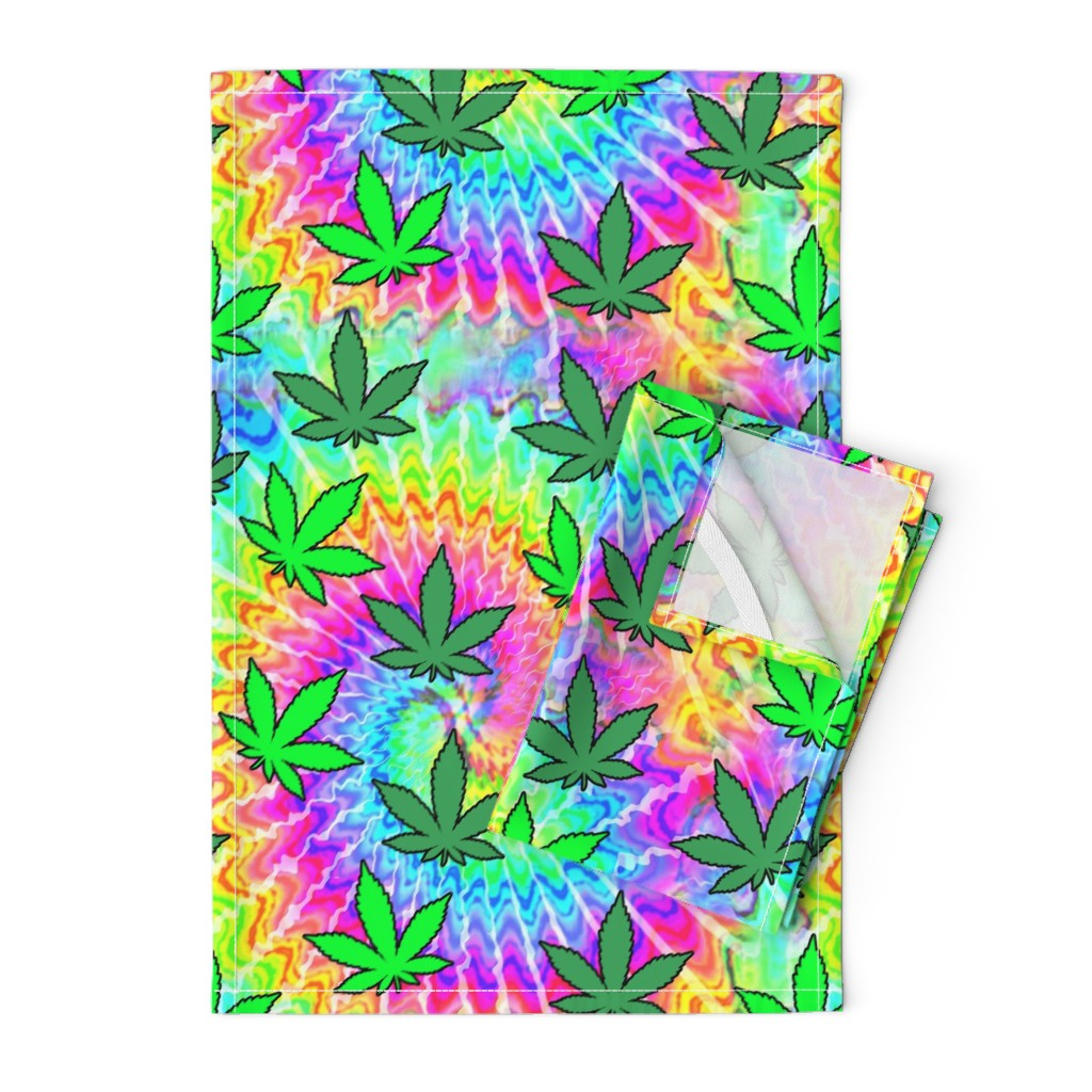 Orpington Tea Towels featuring 1 tie dye rainbow colourful psychedelic rave music festivals weed marijuana cannabis drugs 420  ganja plants leaves leaf neon pink blue green spirals watercolor pop art hippies april 20 by raveneve