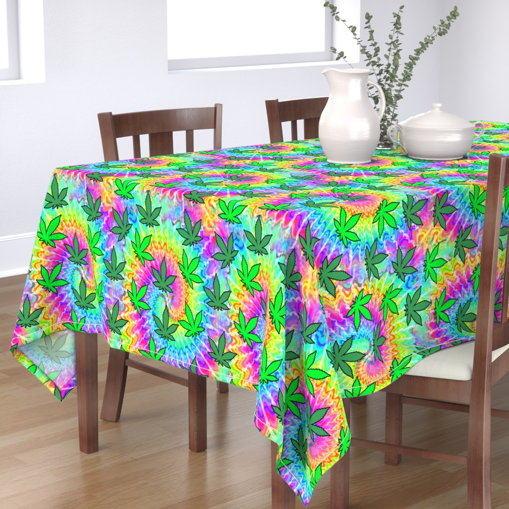 Bantam Rectangular Tablecloth featuring 1 tie dye rainbow colourful psychedelic rave music festivals weed marijuana cannabis drugs 420  ganja plants leaves leaf neon pink blue green spirals watercolor pop art hippies april 20 by raveneve