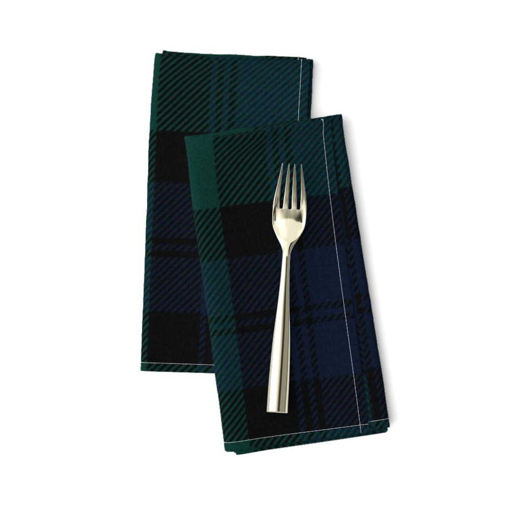 Amarela Dinner Napkins featuring Blackwatch Tartan ~ Traditional ~ Textured   by peacoquettedesigns
