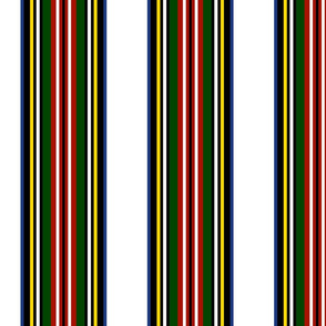 Royal Dress Stewart Classic Stripe On White~ Willow Ware, Turkey Red, Jardin, and Grand Tour