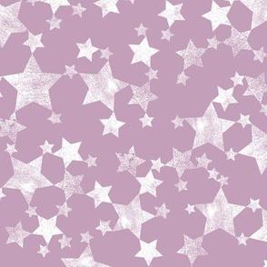 Mauve and White Lino Printed Stars
