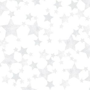 Lino Printed Silver Gray Stars
