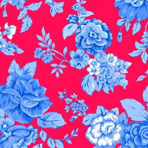 Large Watercolor Floral/Blues on Red