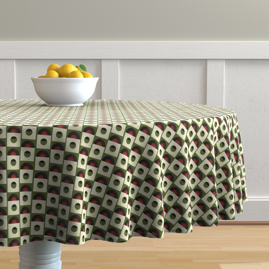 Malay Round Tablecloth featuring Records on Green by jasondryg