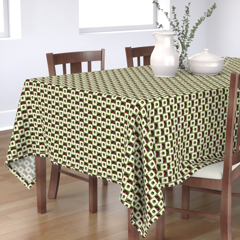 Bantam Rectangular Tablecloth featuring Records on Green by jasondryg
