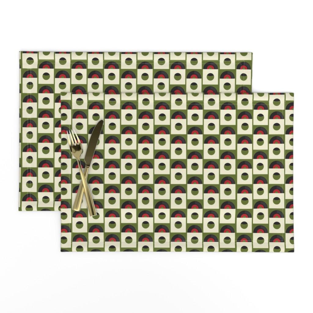Lamona Cloth Placemats featuring Records on Green by jasondryg