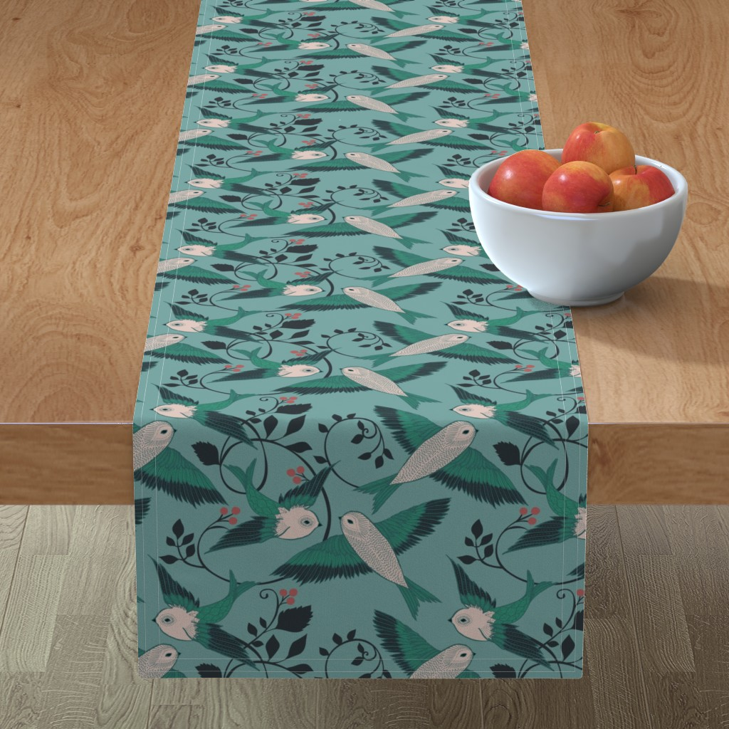 Minorca Table Runner featuring Teal Birds by ceciliamok