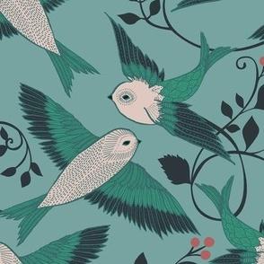 Teal Birds - medium scale