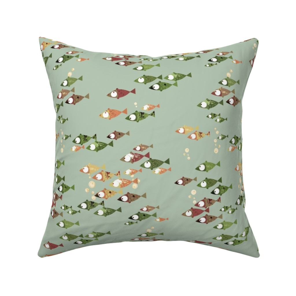 Catalan Throw Pillow featuring School of Fish - Autumn colors on green by mulberry_tree