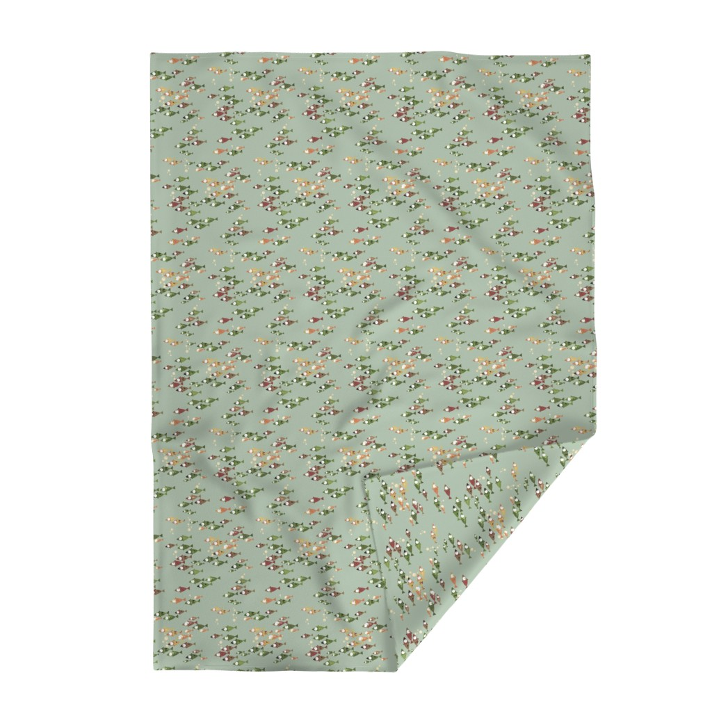 Lakenvelder Throw Blanket featuring School of Fish - Autumn colors on green by mulberry_tree