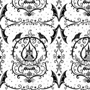Vine Frame Owl Black and White