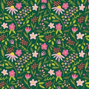 Springtime Floral Green