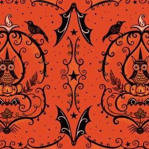 Vine Frame Owl on Orange