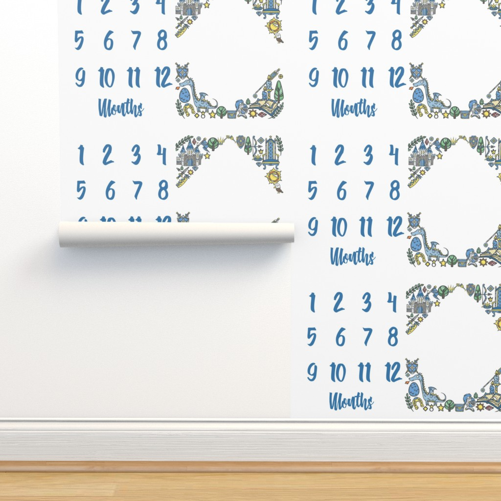 Isobar Durable Wallpaper featuring Miletones Months Blanket Kings Blue by greenmountainfabric
