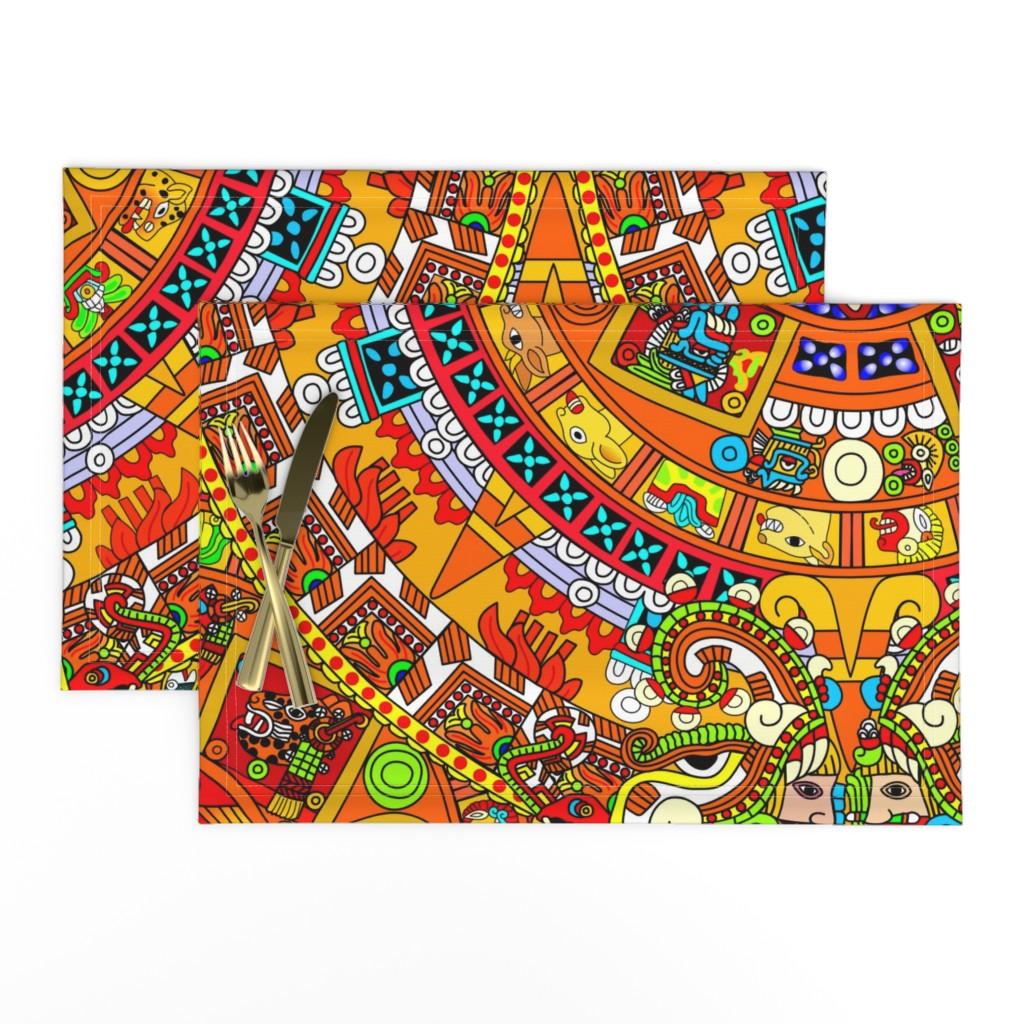 Lamona Cloth Placemats featuring 2 Aztec calendar stone mexico mexican tribal sun deities deity myths legends colorful gods goddesses jaguars wind rain water monkeys folk art ancient Tonatiuh sacrificial sacrifices Tlaltecuhtli Tenochtitlan blue brown yellow  by raveneve