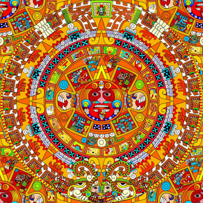 2 Aztec calendar stone mexico mexican tribal sun deities deity myths legends colorful gods goddesses jaguars wind rain water monkeys folk art ancient Tonatiuh sacrificial sacrifices Tlaltecuhtli Tenochtitlan blue brown yellow