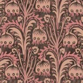Old Rose Pink Bell Flower Botanical Woodcut Design William Morris Style