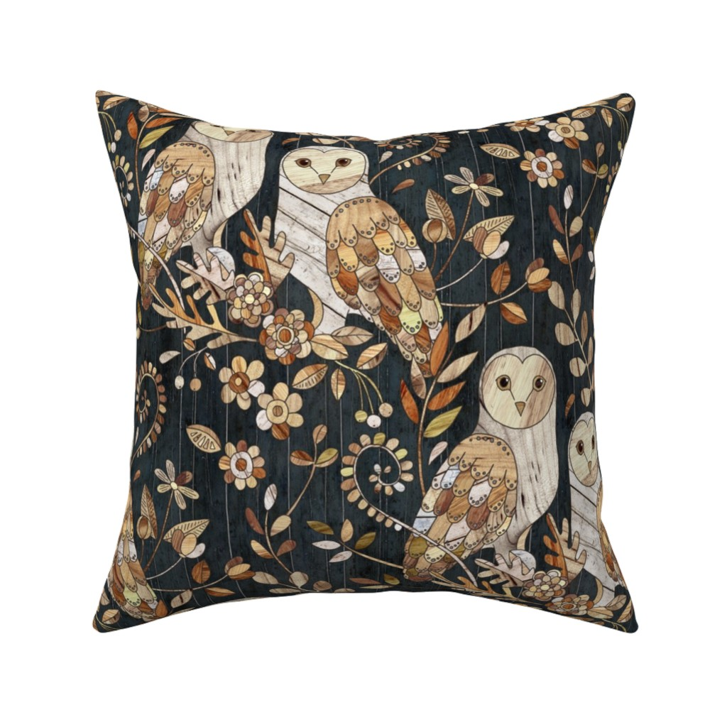 Catalan Throw Pillow featuring Wooden Wonderland Barn Owl Collage - large by micklyn