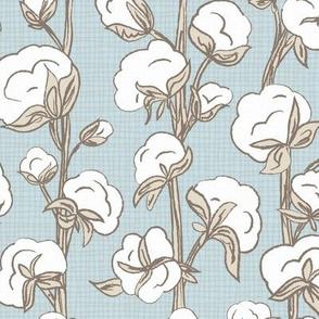 Farmhouse Cotton Stalk Stripe - Blue // modern farmhouse cotton boll bloom cotton vine stalk fluff light blue cream fabric
