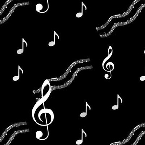 Music Notes Black and White
