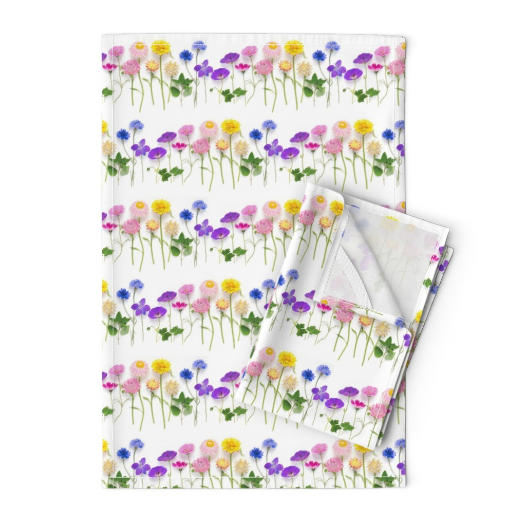 Orpington Tea Towels featuring Rainbow of summer flowers stripe by bottle_branch