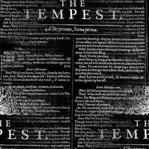 Shakespeare Tempest Text Black and White