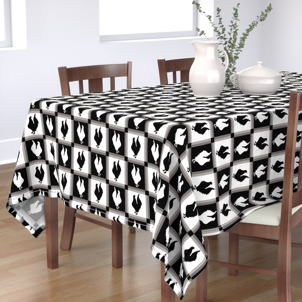 Bantam Rectangular Tablecloth featuring Rooster Check Black And White by theartofvikki
