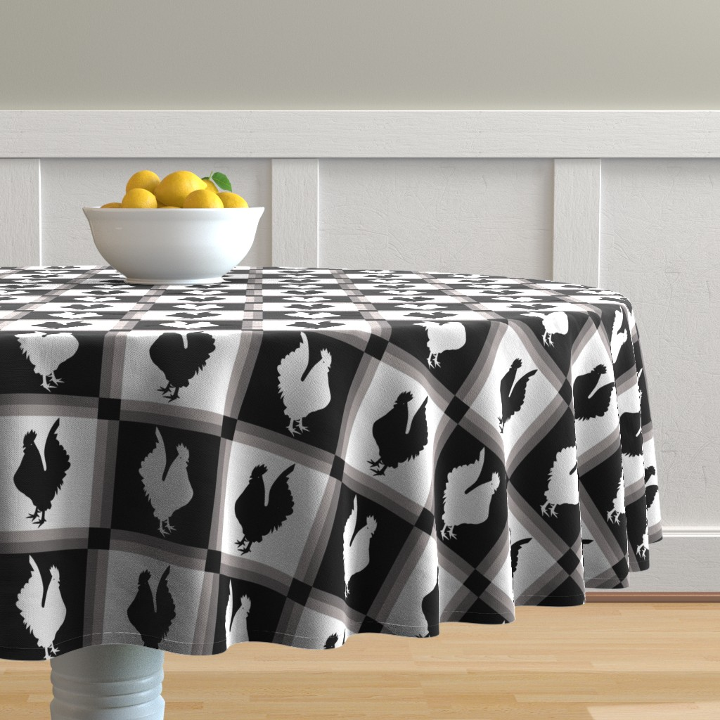 Malay Round Tablecloth featuring Rooster Check Black And White by theartofvikki