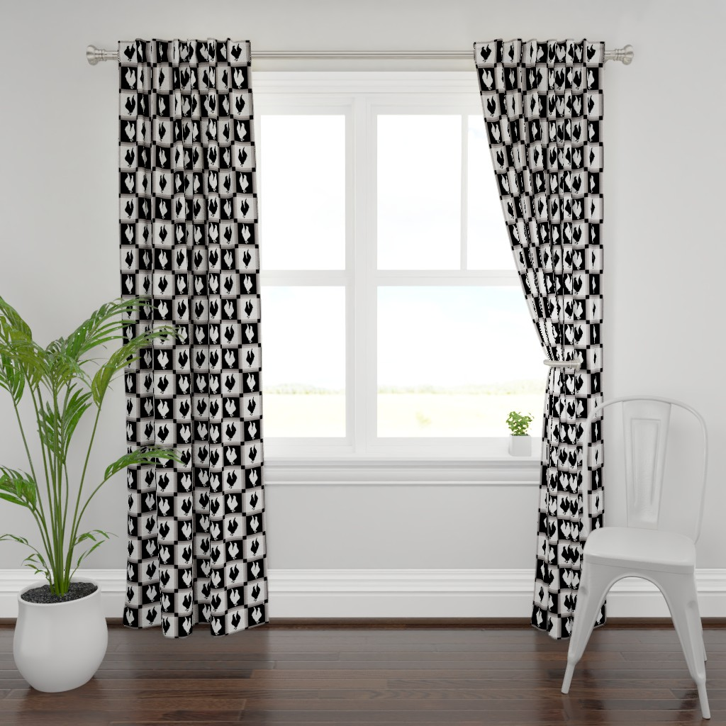 Plymouth Curtain Panel featuring Rooster Check Black And White by theartofvikki