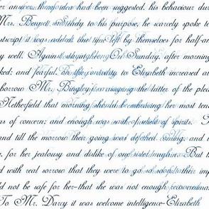 Jane Austen Pride Text blue and black on white