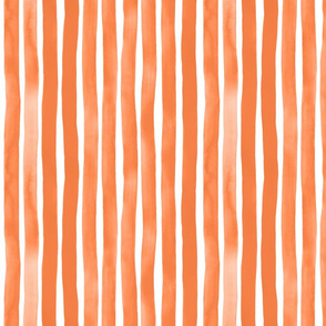 Vertical Watercolor Stripes M+M Tangerine by Friztin