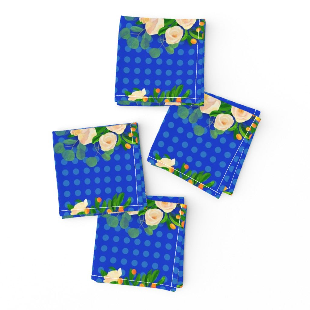 Frizzle Cocktail Napkins featuring floral kumquats on blue by ghouk