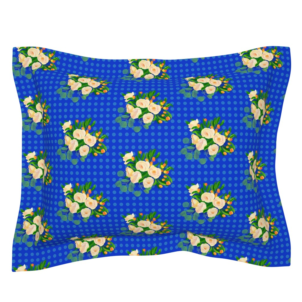 Sebright Pillow Sham featuring floral kumquats on blue by ghouk