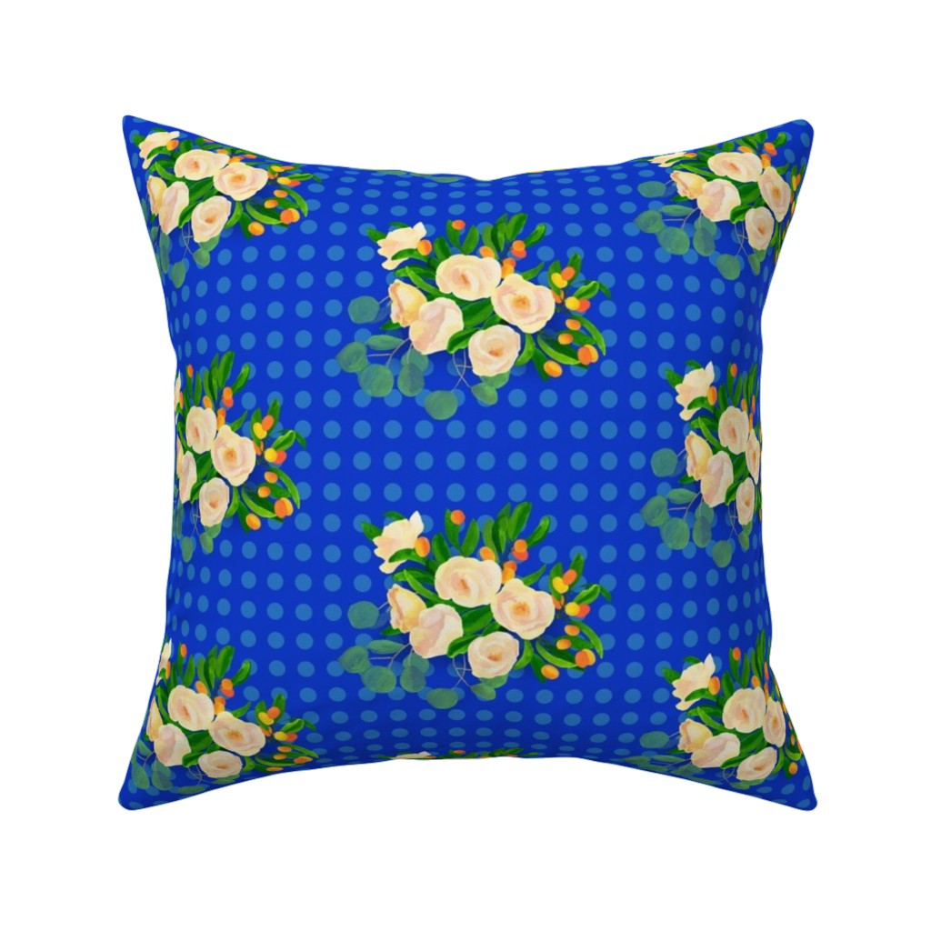 Catalan Throw Pillow featuring floral kumquats on blue by ghouk
