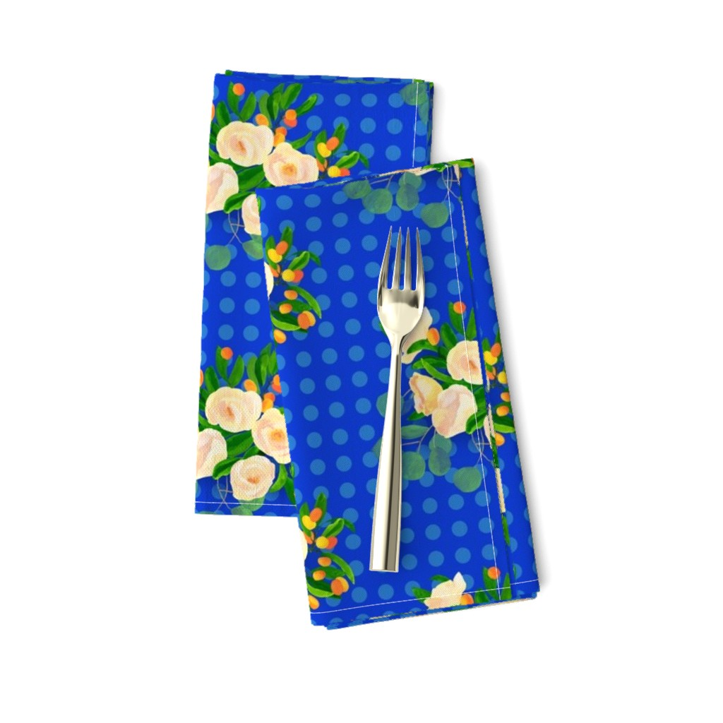 Amarela Dinner Napkins featuring floral kumquats on blue by ghouk