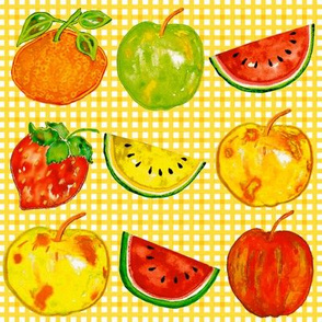 Watercolor Fruits in a Row