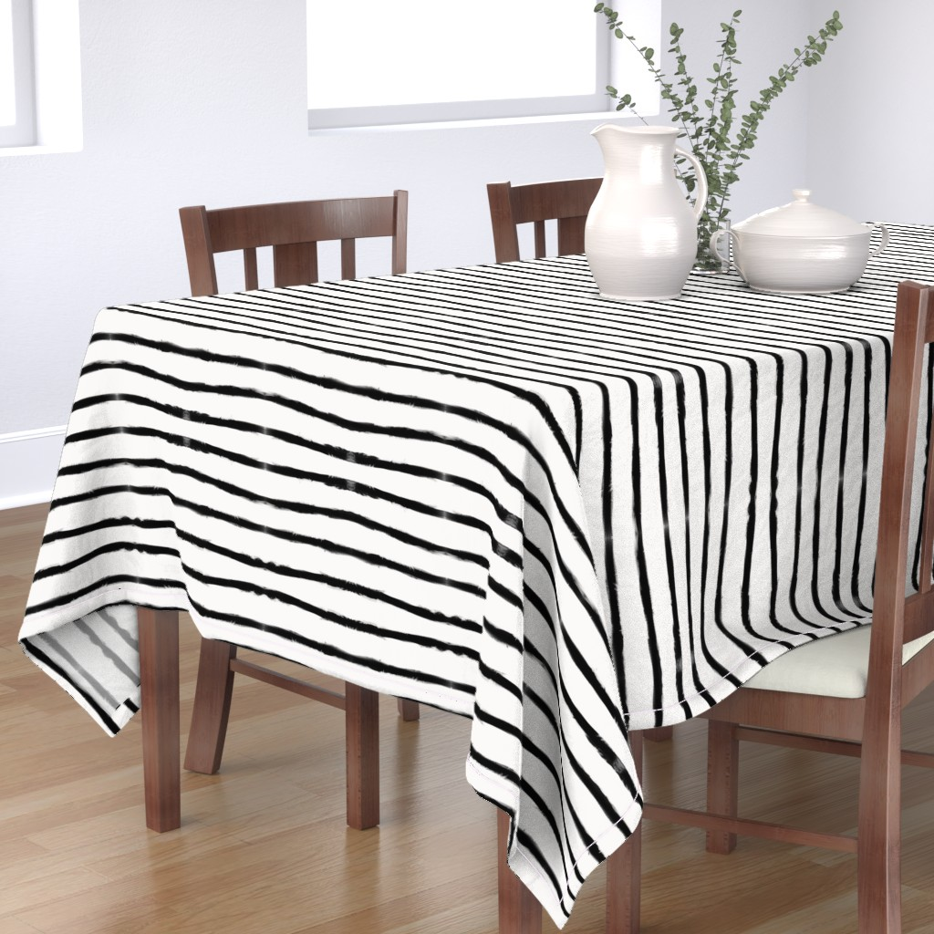 Bantam Rectangular Tablecloth featuring Medium Brush Strokes Horizontal  Black on Off White by form_creative