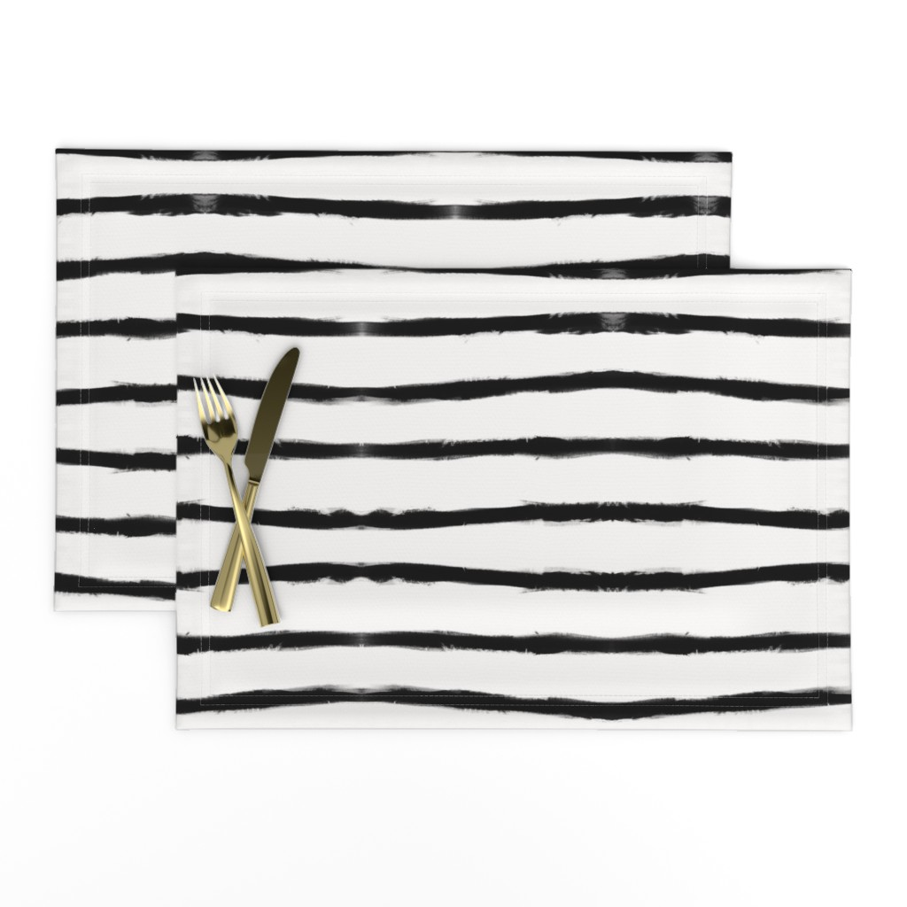Lamona Cloth Placemats featuring Medium Brush Strokes Horizontal  Black on Off White by form_creative