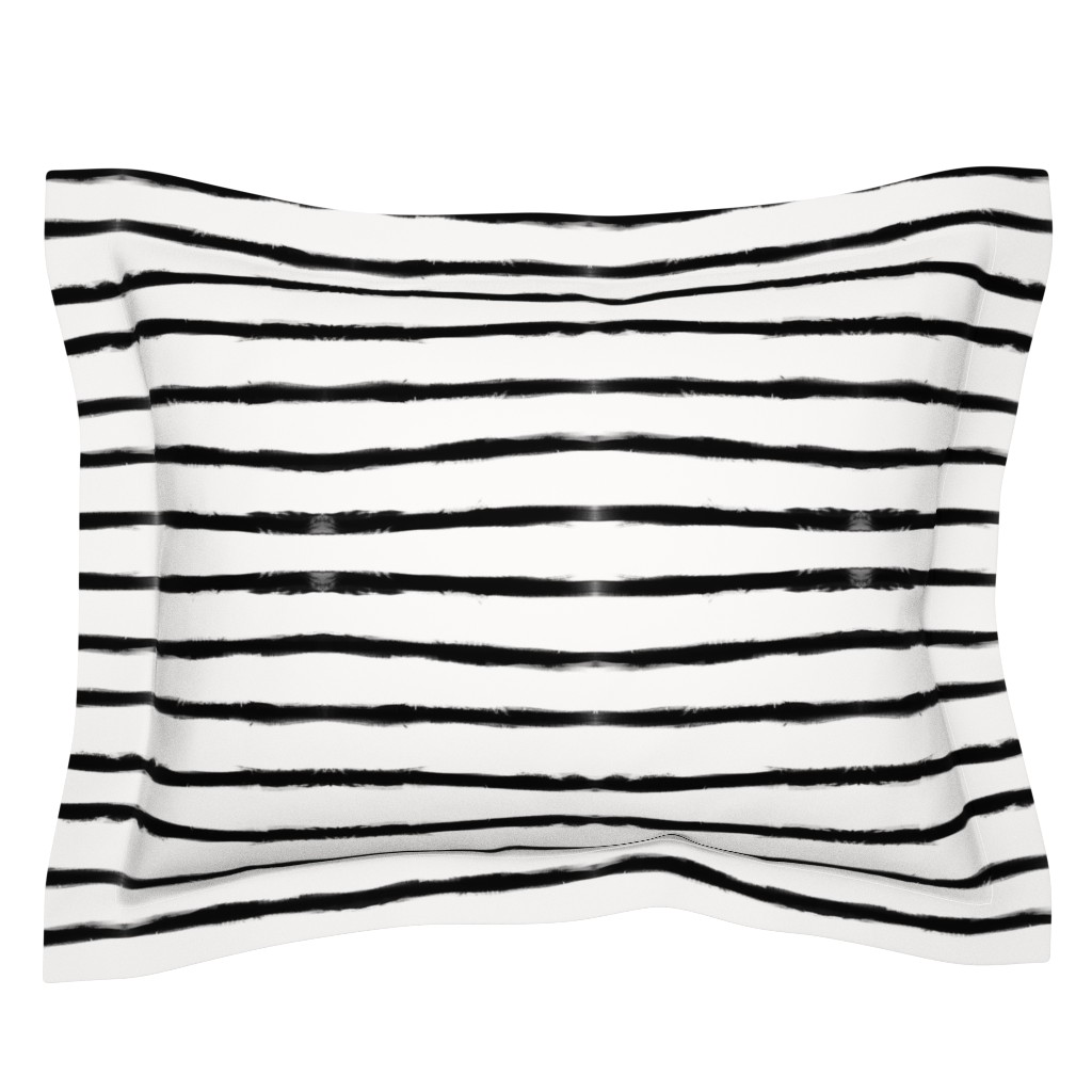 Sebright Pillow Sham featuring Medium Brush Strokes Horizontal  Black on Off White by form_creative